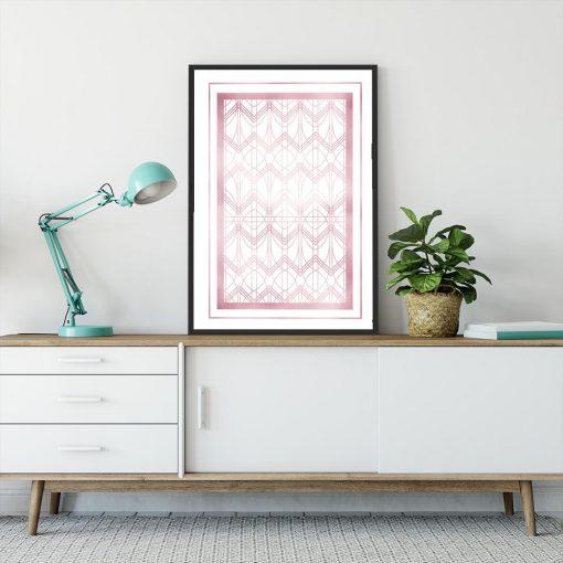 Plakat z efektem lustra w kolorze rose gold