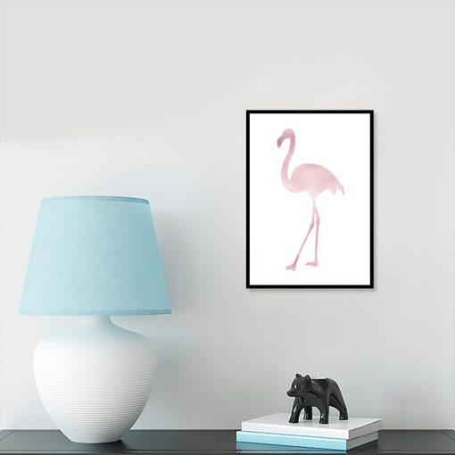 Metaliczny plakat z motywem flaminga