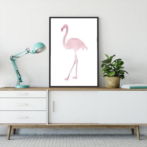 Różowo-złoty plakat z motywem flaminga