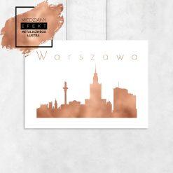 Plakat miedziany z architekturą warszawy