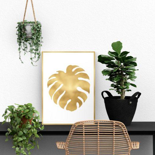 Metaliczny plakat z tropikalnym liściem