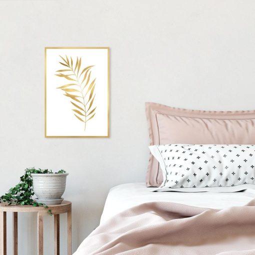 Plakat metaliczny z motywem liścia