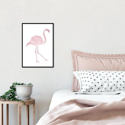 Metaliczny plakat z flamingiem