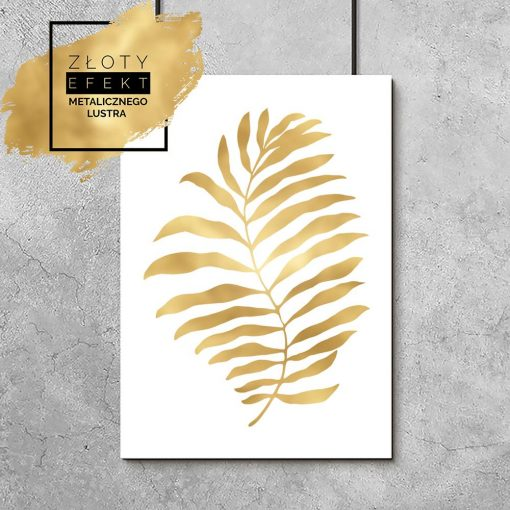 Plakat z motywem złotego liścia palmy