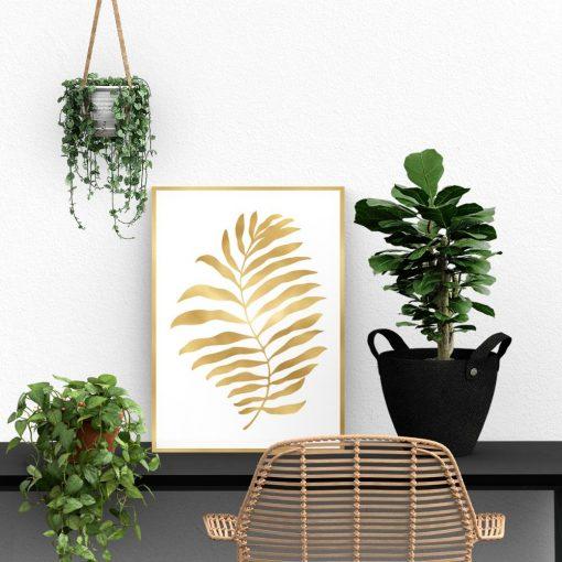 Pozłacany plakat z liściem palmy