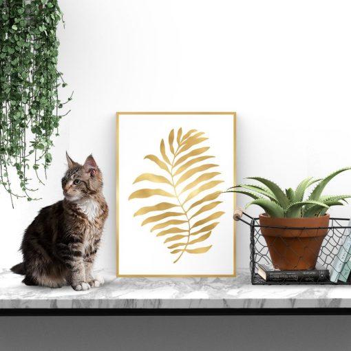 Metaliczny plakat ze złotym liściem palmy