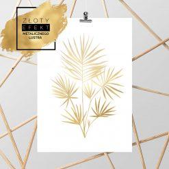 Złoty plakat z tropikalną rośliną