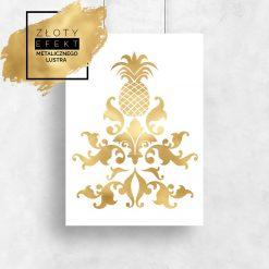 Plakat pozłacany ananas