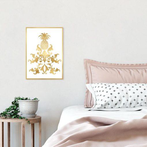Plakat metaliczny z motywem ananasa