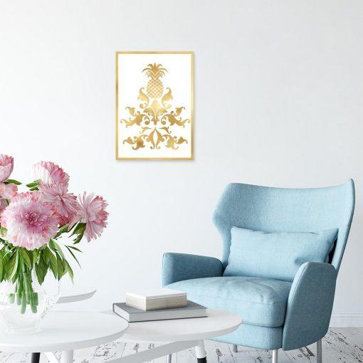 Plakat złoty ornamenty i ananas