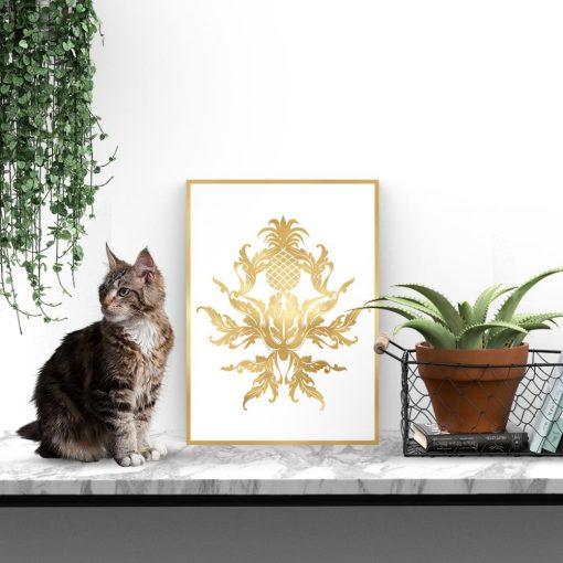 Złoty plakat z ananasem