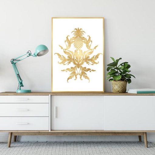 Plakat złote wzory i ananas