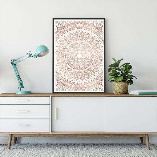 Plakat metaliczny z mandalą