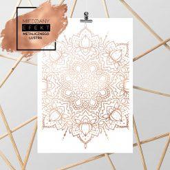 Plakat miedziany z kwiatową mandalą