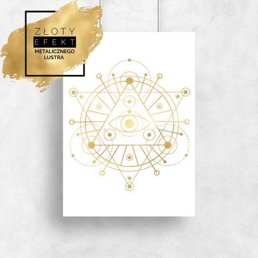 Plakat złoty z geometrycznym wzorem