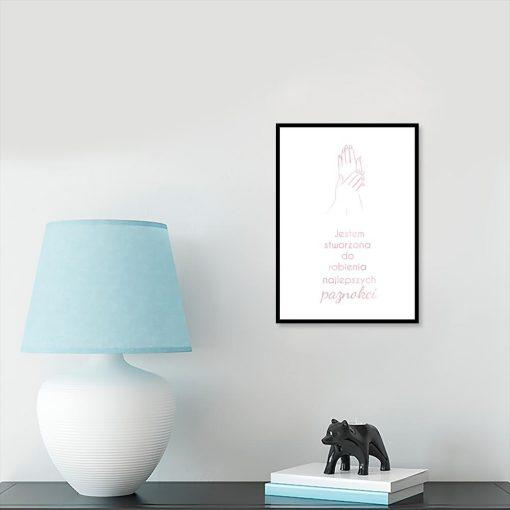 Plakat rose gold z napisem o paznokciach