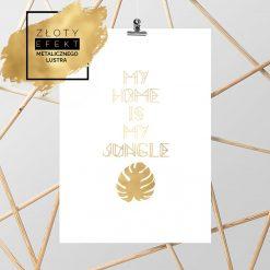 Złoty plakat z liściem monstery i napisem