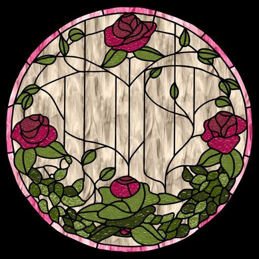 Witraż samoprzylepny róże i kwiaty