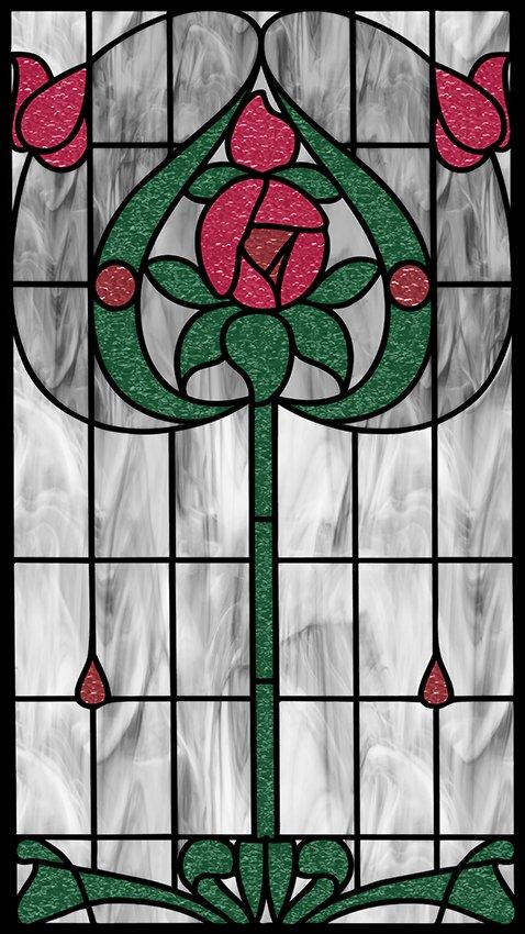 Naklejka witrażowa czerwone kwiaty