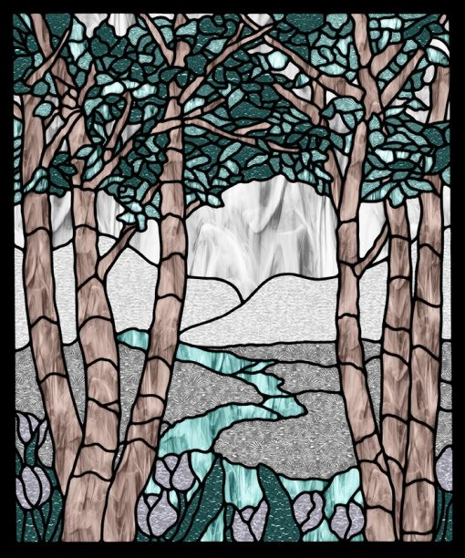 Naklejka witrażowa z motywem drzew i rzeki