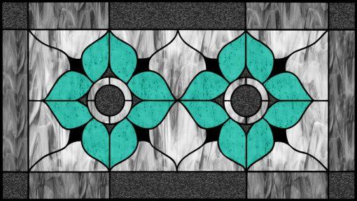 Witraż samoprzylepny z kwiatami turkusowymi