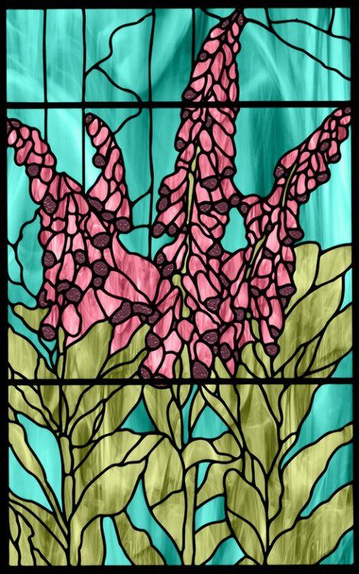 Folia witrażowa kwiaty
