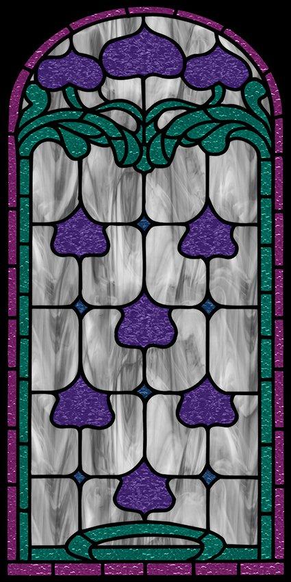 Naklejka witrażowa fioletowe wzory