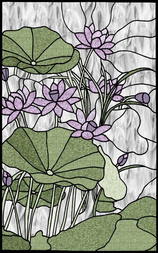 Naklejka witrażowa lilie wodne