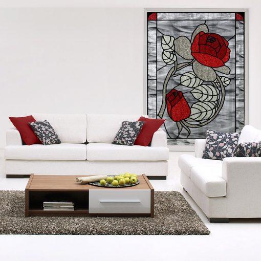 Naklejka witrażowa czerwone róże