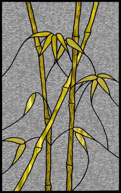 Witraż samoprzylepny żółte bambusy