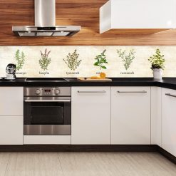 beżowa fototapeta kuchenna z ziołami