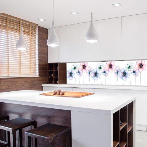 tapeta kuchenna różowo-fioletowe kwiaty