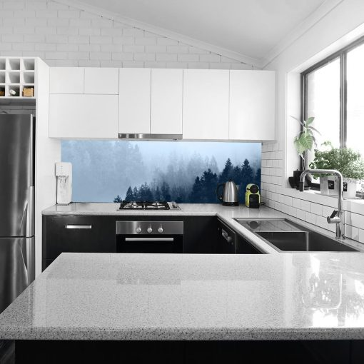niebieska fototapeta kuchenna las