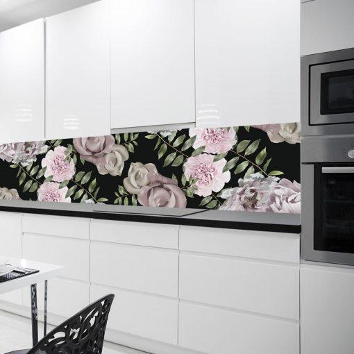czarna fototapeta kuchenna z różami