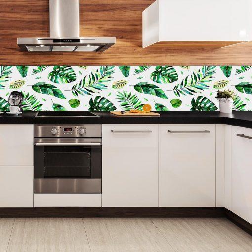 tapeta kuchenna liście tropikalne