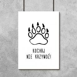 plakat łapa zwierzęcia napisy