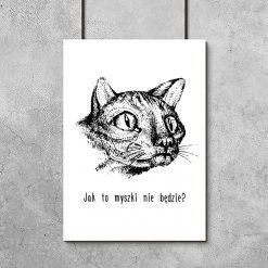 czarno-biały plakat z śmiesznym kotem