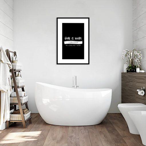 czarno-biały plakat do łazienki