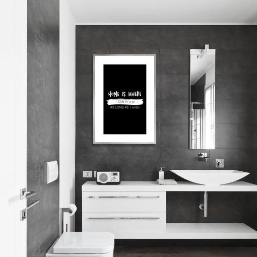 czarno-biały plakat z zabawnym napisem