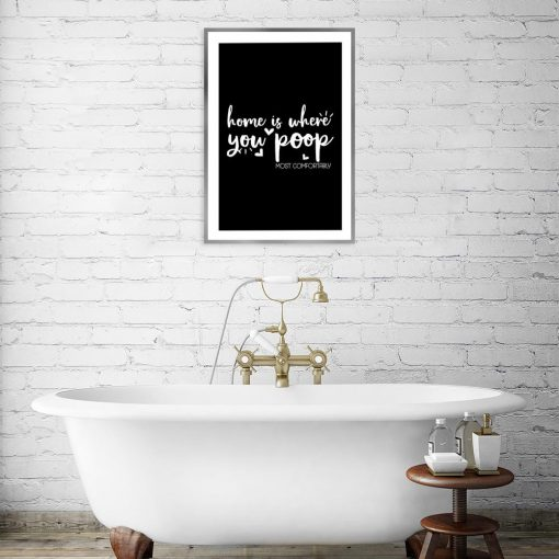 czarno-biały plakat z napisem o domu
