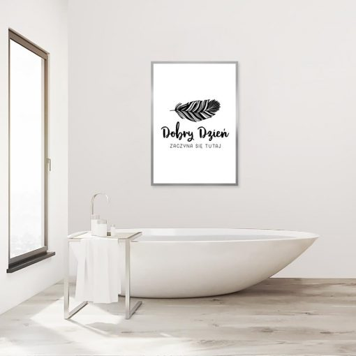 czarno-biały plakat z piórkiem