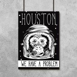 plakat czarno-biały z małpą