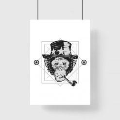plakat z małpą w kapeluszu do salonu
