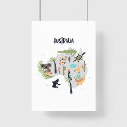 plakat z mapą Australii