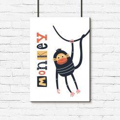 plakat z małpką