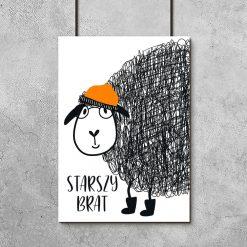 plakat z owcą w czapce