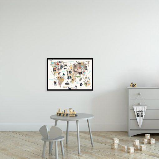plakat z kolorowymi zwierzętami do pokoju dziecka