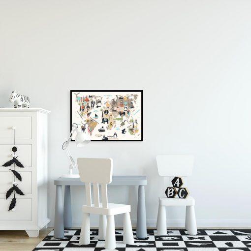 plakat z motywem zwierząt na ścianę pokoju dziecka