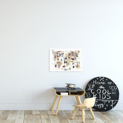 plakat z motywem mapy ze zwierzętami do pokoju dziecka