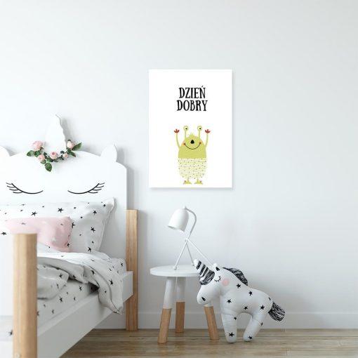 plakat ze stworkiem w kropki do pokoju dziecka